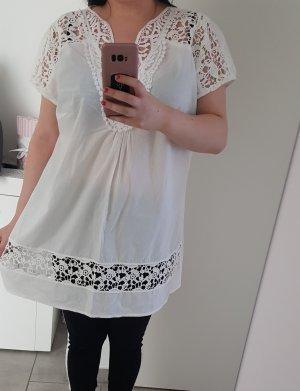 weiße bluse häkel spitze shirt
