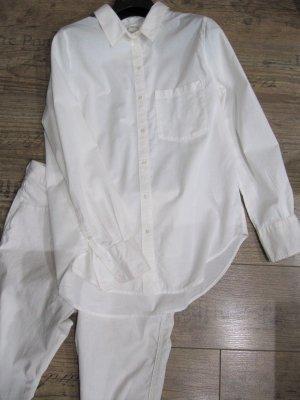 Weiße Bluse Hemdbluse und Hose Jeanshose Langarm Gr. 38