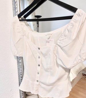 H&M Top peplum blanco puro-blanco tejido mezclado