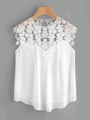 Weiße Bluse Kurzarm mit Spitze *Shein*