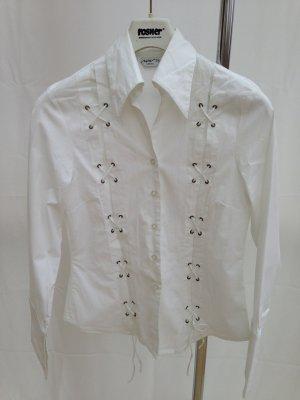 weiße Bluse – Langarmbluse, Büro, Stickereien, Gr.38 GESCHENKAKTION BEACHTEN!