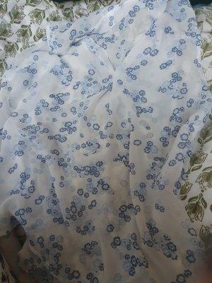 weiße bluse mit blauen blümchen