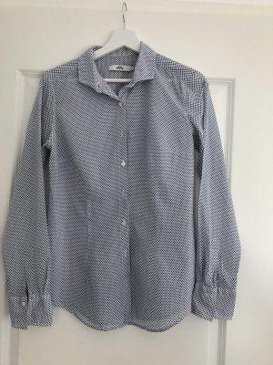Weiße Bluse mit blauen Punkten von 0039 Italy, Gr. S - getragen