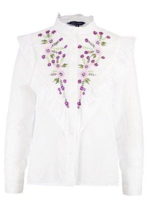 Weiße Bluse mit Blumen