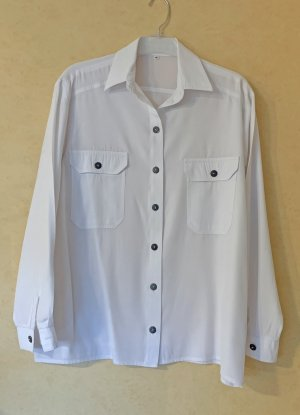 weiße Bluse mit Brusttaschen, Größe 40