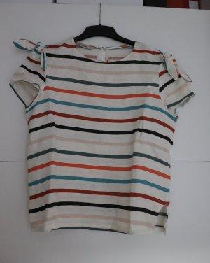 Weiße Bluse mit bunten Streifen