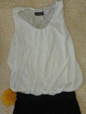 weiße Bluse mit Cutoutmuster Netzbluse 40