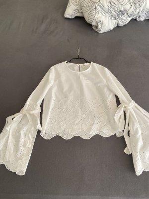 Weiße Bluse mit Details von Zara, Größe XS, neu