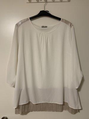 Weiße Bluse mit Einsatz