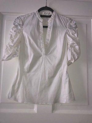 Weiße Bluse mit gerafften Ärmeln von Zara, Gr. XS