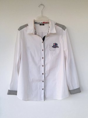 weiße Bluse mit grauen Akzenten, Größe 46