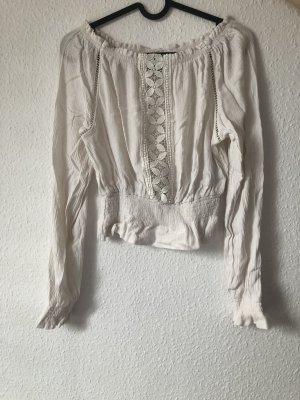 weiße Bluse mit Gummizügen