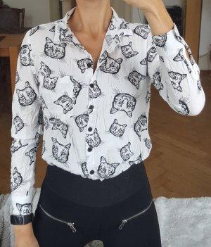 Weiße Bluse mit Katzen-Print