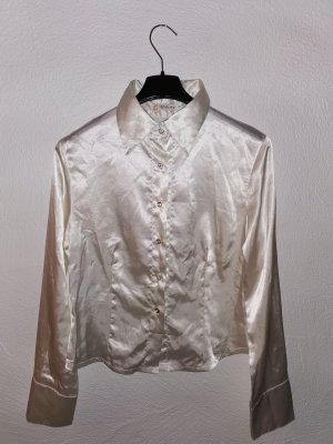 Weiße Bluse mit Krone in satin