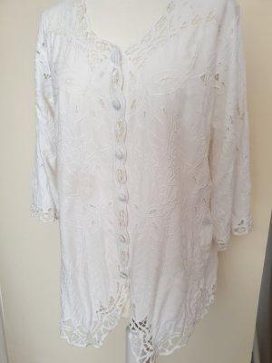 Weiße Bluse  mit Lochstickerei Gr.42 / 44