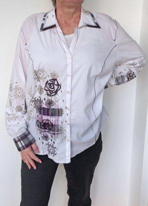 weiße Bluse mit Muster von Samoon, Größe 46