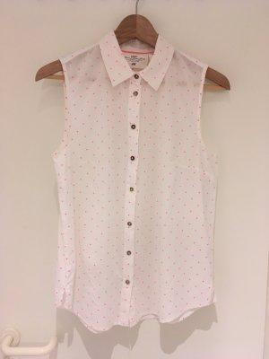 Weiße Bluse mit pinken Pünktchen von H&M in Größe 38