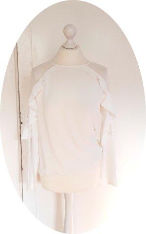 Weiße Bluse mit Rüschen und Mesh