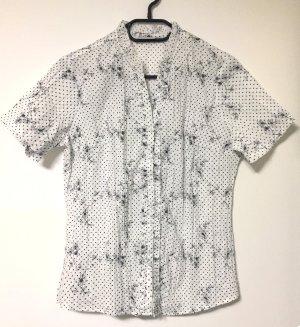weiße Bluse mit schwarze Pünktchen und Blümchen zum Knöpfen, kurzärmlig, Gr. 42