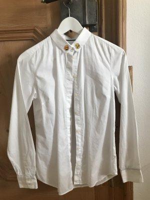Weiße Bluse Mit Smiley-Kragen