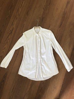 Ivi collection Blusa de cuello alto blanco-beige