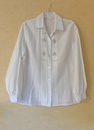 weiße Bluse mit Trachten-Stickerei, Größe 40