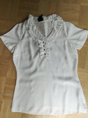 Weiße Bluse mit Volantkragen