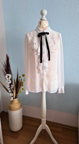 Mango Tie-neck Blouse white-black polyester