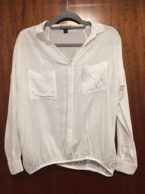 Weiße Bluse oversize mit Gummizug, Gr. XS, Amisu