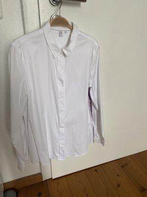 Weiße Bluse Seidensticker blau/ rote Paspel 38 zara H&M