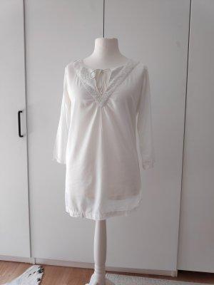Weiße Bluse Tunika Longbluse Hippie boho Größe 38