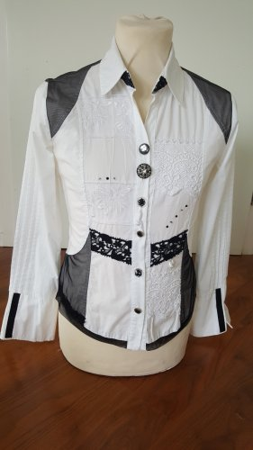 Bottega Camicetta a maniche lunghe bianco-nero Cotone