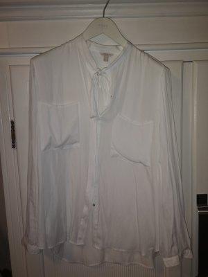 Esprit Blusa de cuello alto blanco