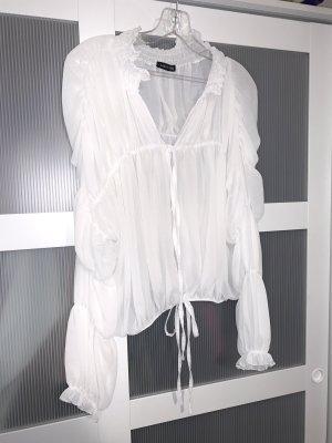 Isawitfirst Bluzka z falbankami biały-w kolorze białej wełny