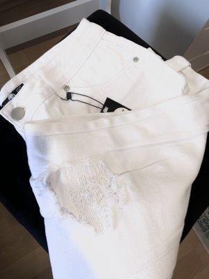 Weiße Boohoo Boyfriend Jeans Gr.42