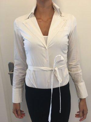Weiße Business Bluse mit coolem Kragen