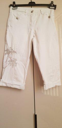 Apart Spodnie Capri biały-srebrny