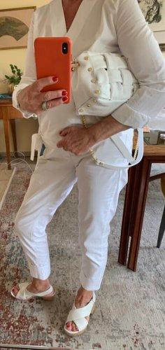 Weiße Cassette Bag Tasche aus echtem Leder mit Kettengurt Clutch neu
