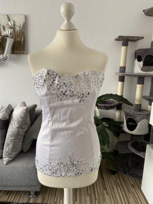 weiße corsage mit bling bling steinchen in weiß silber