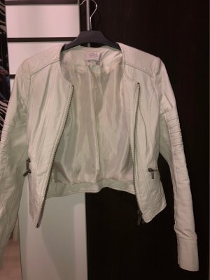 Weiße/Creme Lederjacke