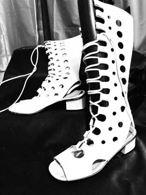 Lace-up Boots white leather