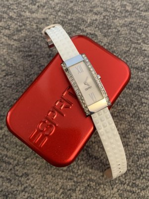 Esprit Zegarek ze skórzanym paskiem biały