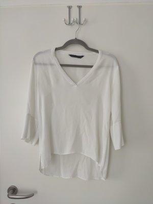 Weiße fließende Bluse Shirt Top Zara Gr. M Insta Blogger