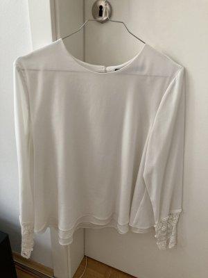 Weiße fließende ZARA Bluse mit Spitze