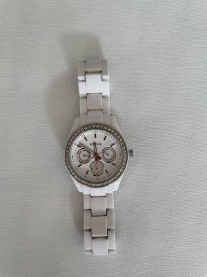 Weiße Fossil Uhr mit Strasssteinen