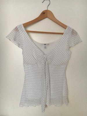 Weiße, gepunktete Bluse mit Schleife, Gr. 36