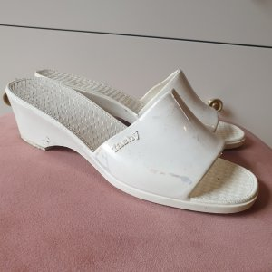 VINTAGE  70er Platform High-Heeled Sandal white