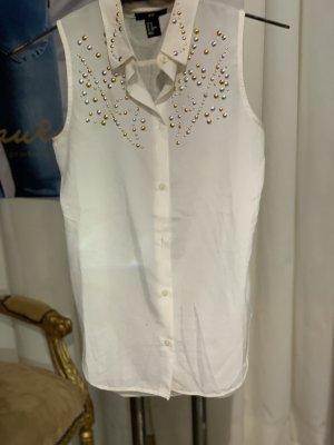 weiße H&M Top Bluse mit Kragen