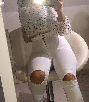 Weiße high waist jenas