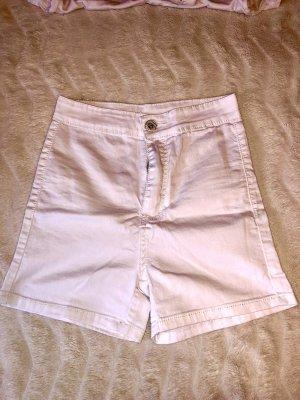 Weiße High-Waist kurze Shorts